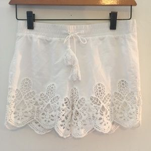 Vanilla Star Girls Embroidery Lined Linen Shorts